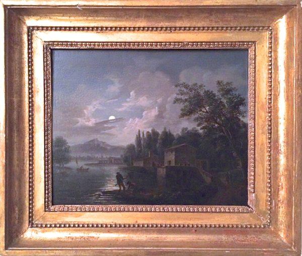 Clair de lune sur le Vésuve depuis Sorrente - Italie, XIXe siècle.