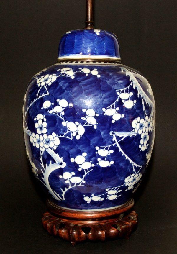 Lampe en porcelaine bleue de Chine - XIXe siècle