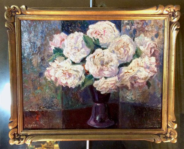 Raymond QUIBEL - Bouquet de roses - Ecole impressionniste de Rouen