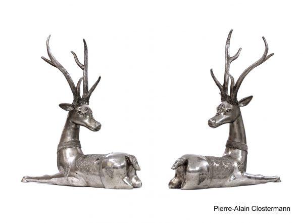 Deux cerfs en bronze, Thaïlande, école Ratanakosin - H. 82 cm
